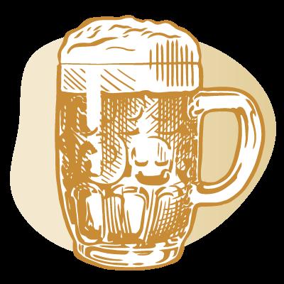 drawing of short beer mug with handle