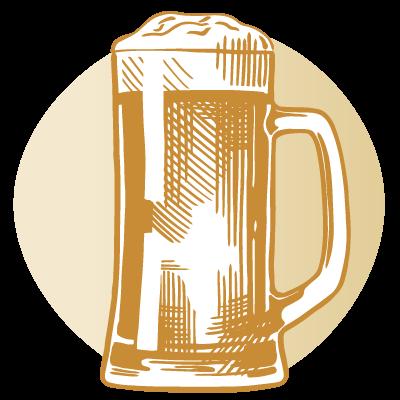 drawing of tall beer mug